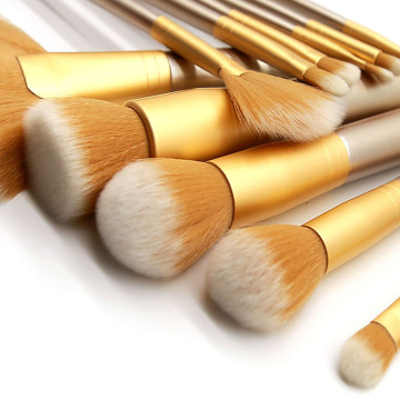 Champagne Yellow Gold Beauty Makeup Brushes Set