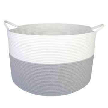 100% Handmade Organizer Cotton Rope Storage Basket With Handles Decorative Hamper