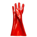 Red gloves dipped in rubber flannelette