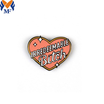 Metal Custom Heart Shape Enamel Pin Badge