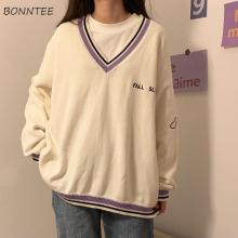 Sweaters Women Ulzzang Letter Chic Vintage V-neck Daily Oversize Preppy Girls Knitwear Fall Casual All-match Ins Womens Sweater