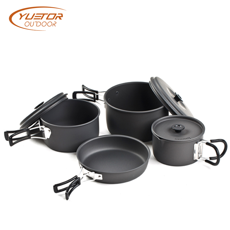 New black Outdoor Backpacking Pots and Pans Set