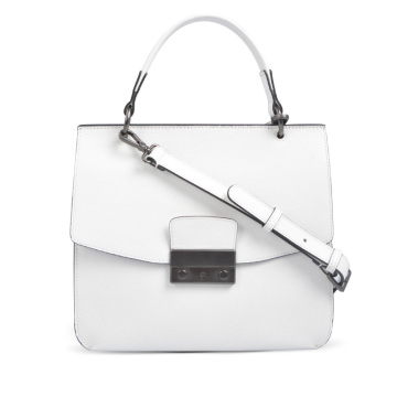 Leather Work Satchel Winged Tote in White