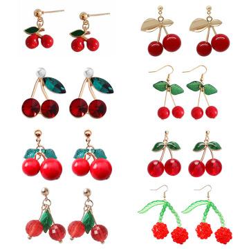 Cute Red Cherry Drop Earrings for Women Sweet Fruit Fresh Cherry Pendant Earrings Female Student Ear Jewelry Couple Gifts