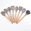 8 piece silicone set wooden kitchen utensil set