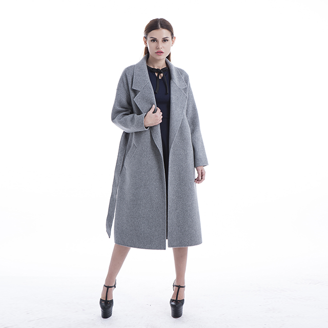 Grey double-sided cashmere coat