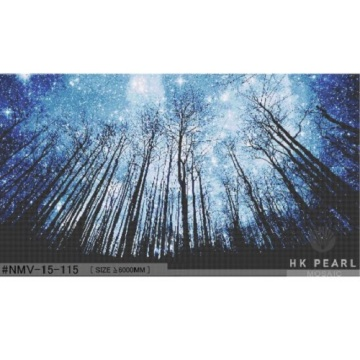 Glass Mosaic Tiles Blue Starry Forest Beautiful Mural