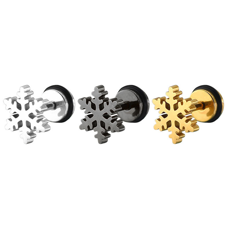Small gold plated snowflake earrings studs