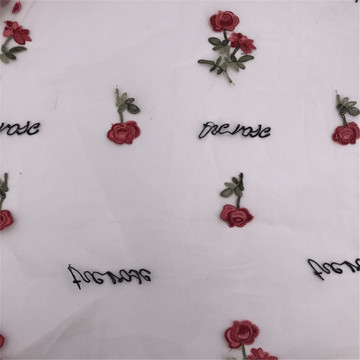 Great fashion Rose Flower Embroidery Tulle Fabric