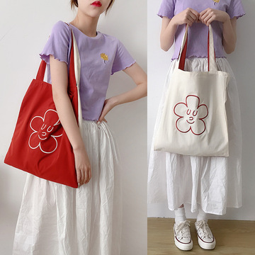 Polyester Flowers Handbags Embroidery Travel Shopping Bag