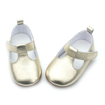 Fashion Gold Fancy Baby Girls T-Bar Shoes