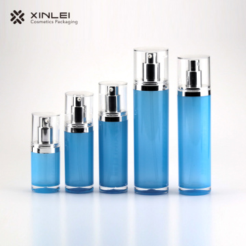 Blue cosmetics container acrylic lotion cylinder bottle