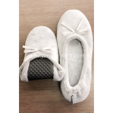 Flat grey flannel slippers with bow for women