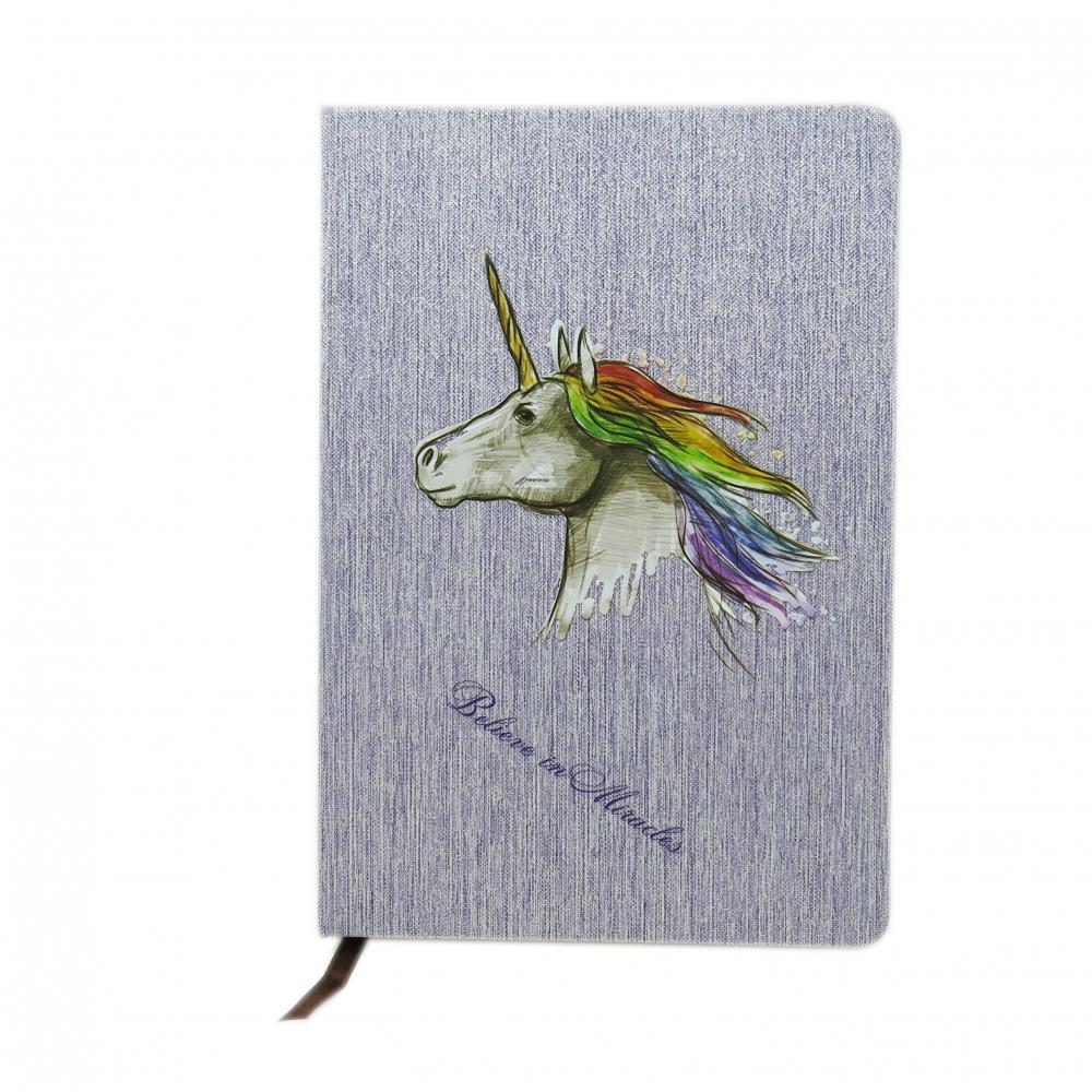 GREY UNICORN CLOTH COVER NOTEBOOK-0