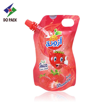 Special shape juice pouch with spout stand up pouch  with customized printing