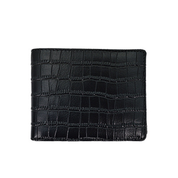 Custom Brand Black Leather Men Short Wallet