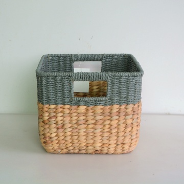 Rectangular water hyacinth paper rope woven basket