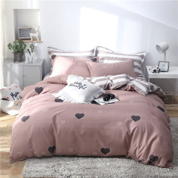 Pink Heart Flamingo Butterfly 4pcs Bed Cover Set Cartoon Duvet Cover Bed Sheets and Pillowcases Comforter Bedding Set 61001
