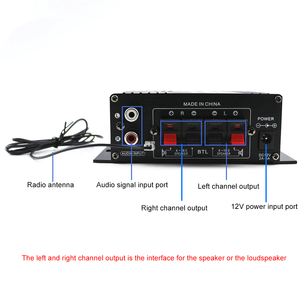 AK370 12V Mini Audio Power Amplifier Bluetooth Amplifier Audio Receiver MP3 Player FM Radio with Remote Control for Car/Home Use