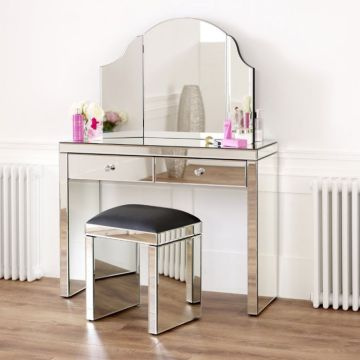 Venetian Mirrored 2 Drawer Dressing Table + Tri-Sided Vanity Mirror Set