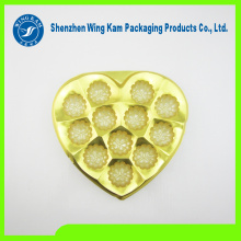custom PS Food grade plastic gold heart shape tray packed for black chocolate