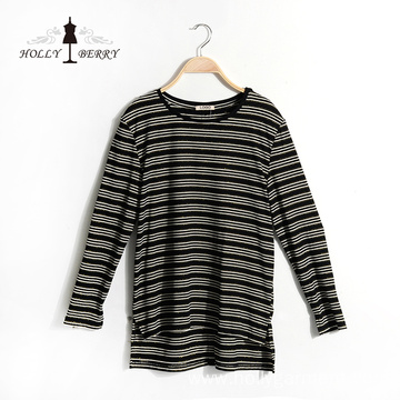 New Autumn Black White Stripe Crewneck Ladies' Blouses