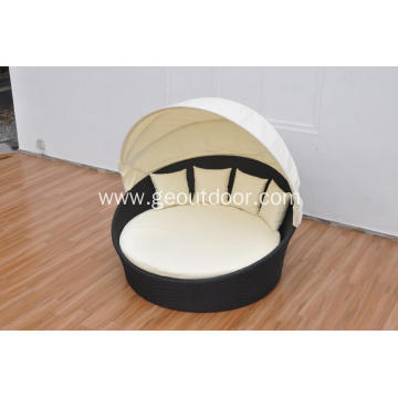 rattan weaving aluminum red and white round sunbed