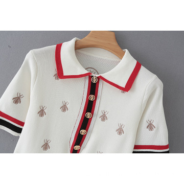 New Bee Pattern Embroidered Short Sleeve Knitted Lapel