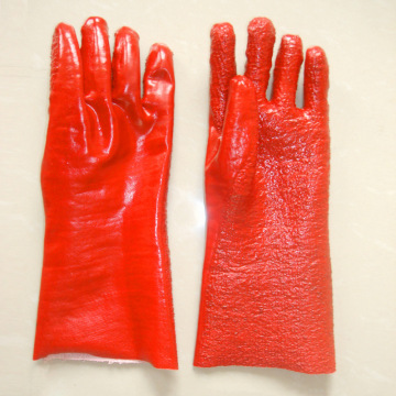 Red terry gloves Flannel lining 35cm