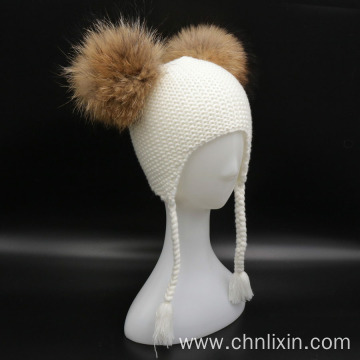 Two fur pom pom balls toddler beanie hat