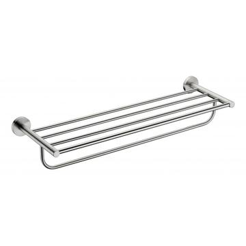 Stainless towel rack on wall