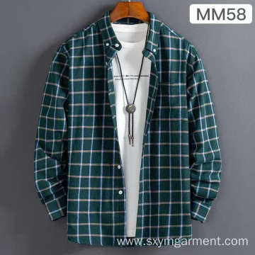 Mens cotton brushed check  ls shirt