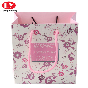 Custom colorful print pink paper bag with handle