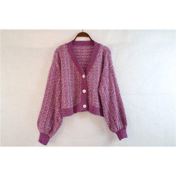 Custom Fashion Short Knitted Cardigan Sweater