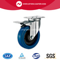 3'' Plate Swivel Blue Elastic Rubber Caster with total brake
