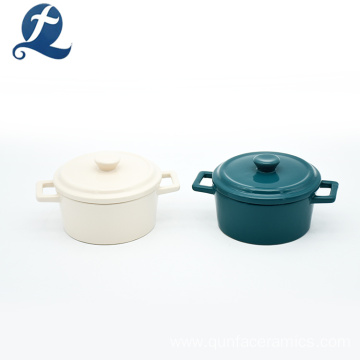 Colored Glaze Ceramic Round Casserole