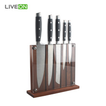 5pcs Kitchen Knives Magnetic Wooden Block