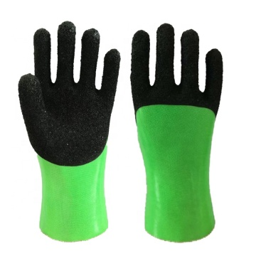 Fluorescent GreenPVC Glove.Black Foam Finish