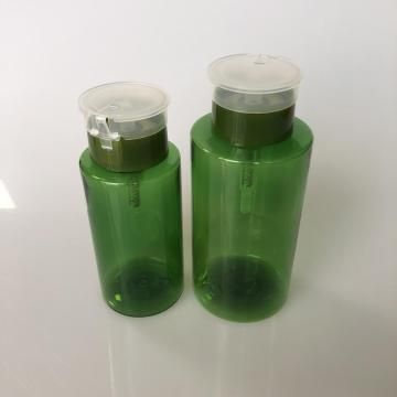 250ml green PET bottle with press platform cap