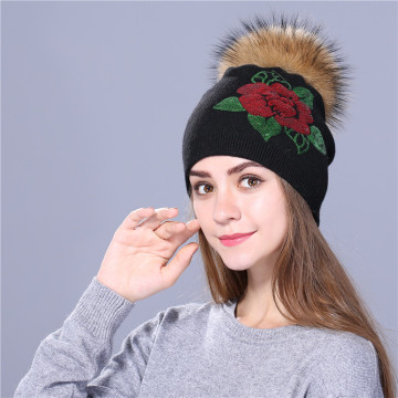 Female winter hat knitted women Sequin embroidery