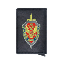 Classic FSB The Federal Security Service of the Russian Card Holder Wallet Men Women Leather Rfid Aluminum Short Purse
