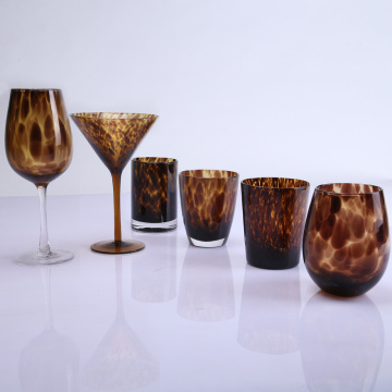 Leopard Pattern Goblet And Stemless  Wine Glasses