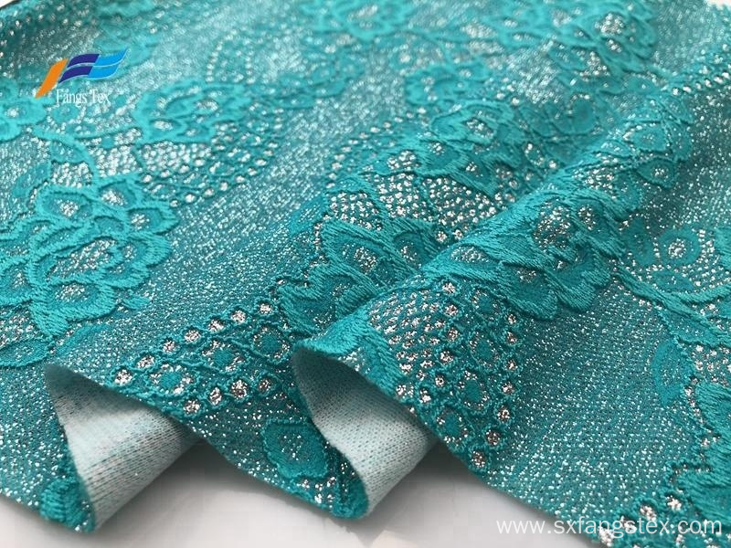 Fancy Jacquard Nylon Polyester Embroidered Lace Fabric