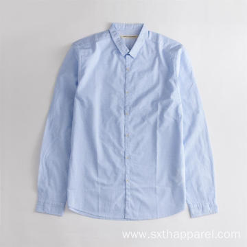 Blue Check long-sleeved Men's Casual Shirt