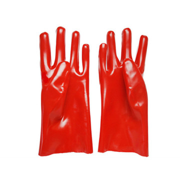Red PVC acid and alkali resistant gloves