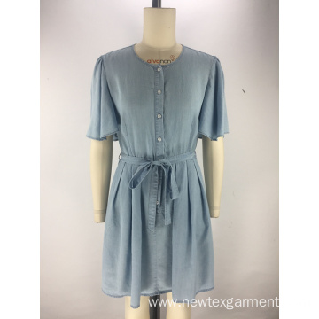 round neck womens blue tencel denim dress