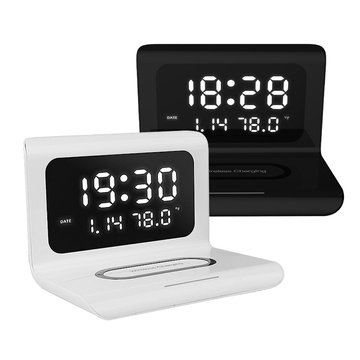 3 In 1 Fast Wireless Charger Dock Station Clock Function For IPhone 11 X XR XS Samsung Mobile Phone Charging Holder Phone Stand