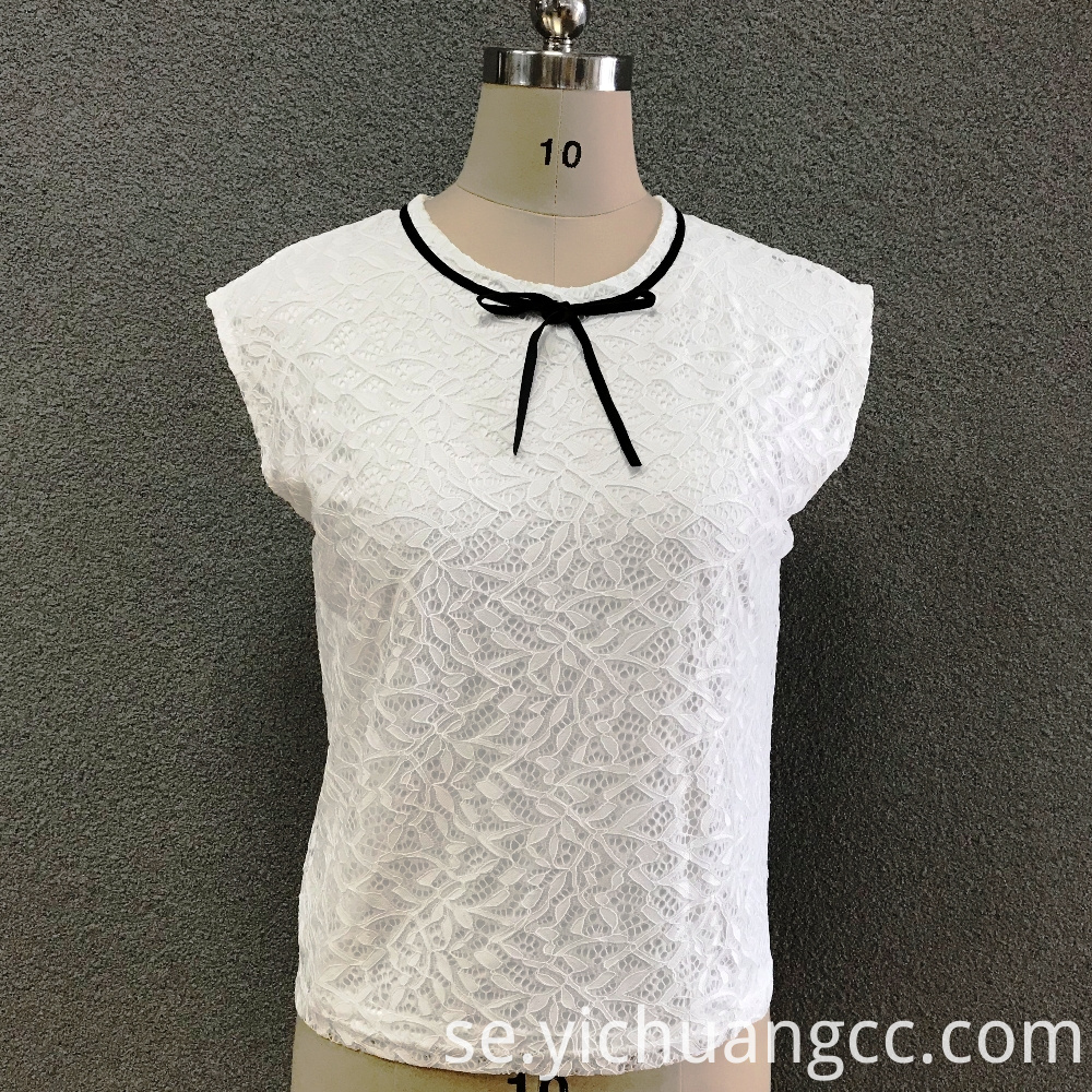 Women's polyester white lace top