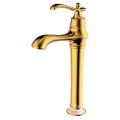 Gold brass single lever lavatory vessel faucet tall
