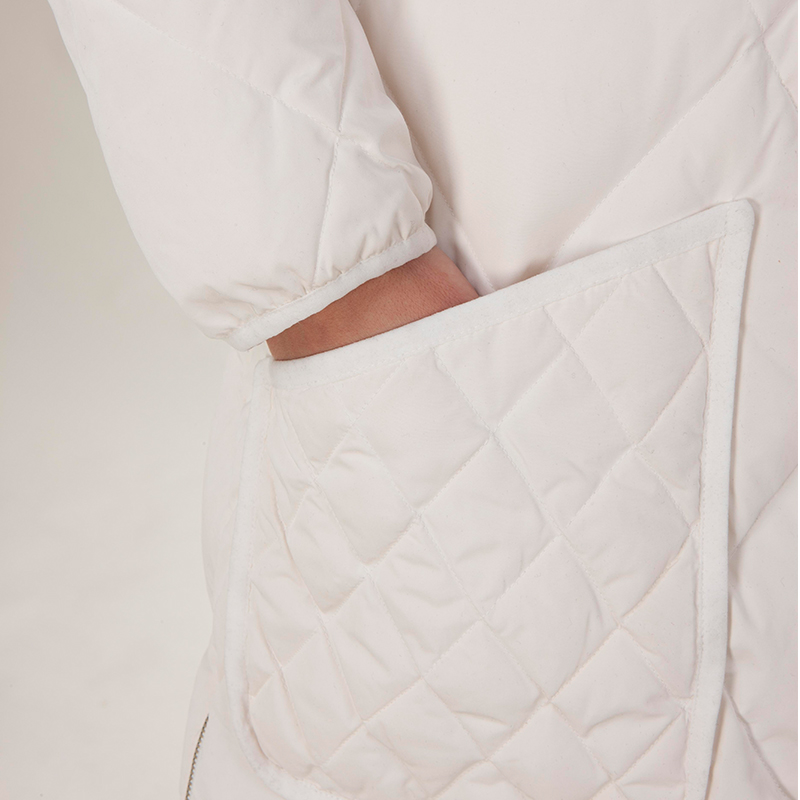 The pocket of fashionable down jacket